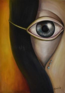 Látom, amit te nem. - I see what you do not. Tisztánlátás - Figyelem - Perspicacity - Egy madár néz madártávlatból - a Látás ősi szímbóluma. -2016. oil on canvas - Készült az V. Halásztleki Művésztelepen - Jóskönyv üzent nekem sorozatból