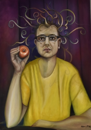 Mental discharges from an organic Tesla coil - Mentális kisülés 2016. Oil on canvas, 100 x70 cm