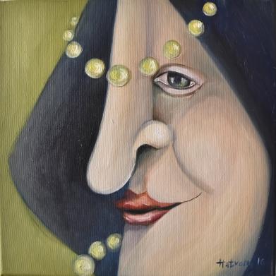 Átlátok rajtad - You see it - 2016. oil on canvas - 30x30 cm