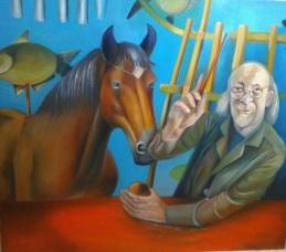 """Art Colony of Hortobágy - """"Extracted from the abstract. """" - Kiszedve az absztraktból - (igazából ezt a képet Csaba fogja érteni igazán!) 2017. Oil on canvas, 150 cm x 130 cm"""