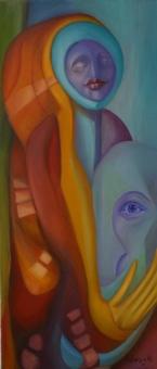 Tűz és víz, Fire and water, 2010. olaj, vászon, 70X30 cm
