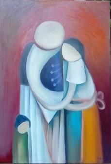 Parasztcsalád - Hortobágyi Művésztelep tulajdona 2017. Család 100 cm X 70 cm Hortobagyi Art Colony