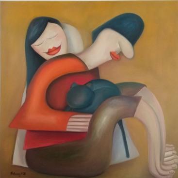Csend - Silent - B.Gy - 2018. 70 cm #100 cm - oil on canvas