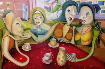 Gossip - Pletyka -130 cm x100 cm oil on canvas - olajfestmény vásznonGossip - Pletyka -130 cm x100 cm oil on canvas - olajfestmény vásznon