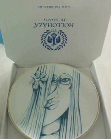 Hatvany Hollóházi Porcelán tányér -24 karátos aranyszéllel