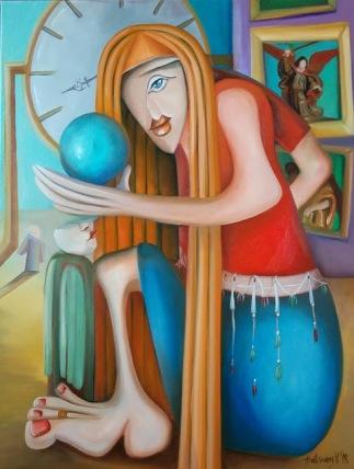 2018. A 4. arkangyal találkozik az Emberrel. A népek gömbje a Földre kerül. Így a szeretet ismét elárasztja a teret. 60 cmX80X3 cm olaj, vászon Marco Oggionora emlékezve. The fourth archangel is meeting with Man. The people's sphere is on the Earth finally. So love floods the space again.