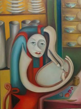 2018. A porcelánfestő - 60 cm × 80 cm olaj, vászon - már magántulajdonban van. :) Respect.The porcelain painter - oil on canvas/privacy property.