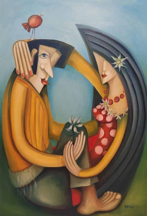 """Mámor fehér virága"" - 70 x 100 cm olaj, vászon"
